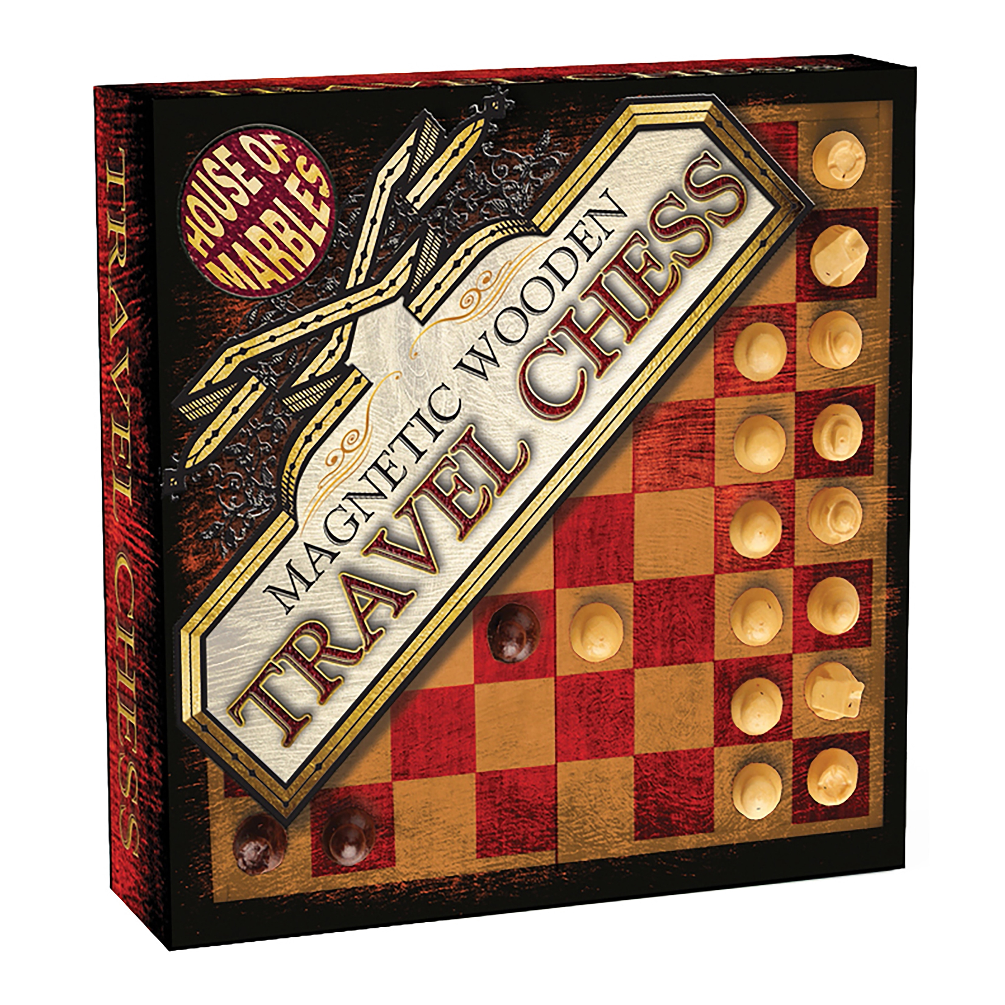House of Marbles Magnetic Wooden Travel Chess, Brown/Multi