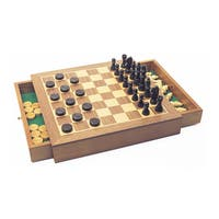 Deluxe Wooden Chess/Checkers/Draughts