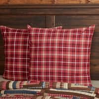 Red Rustic Bedding VHC Braxton Euro Sham Cotton Plaid