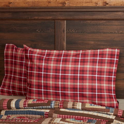 Red Rustic Bedding VHC Braxton Pillow Case Set of 2 Cotton Plaid