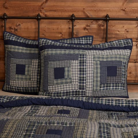 Blue Rustic Bedding VHC Columbus Sham Cotton Patchwork