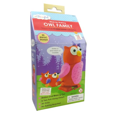 Wind-Up Walking Owl Family - Red