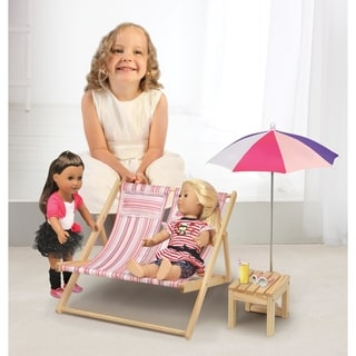 Badger Basket Double Doll Beach Chair with Table and Umbrella, Summer Stripes