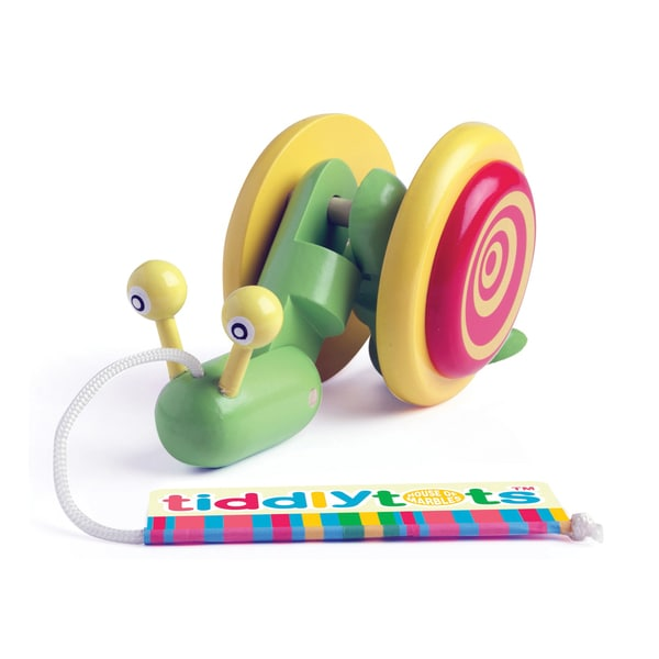 TiddlyTots Giggle Wiggle Snail Wooden Pull-Along Toy