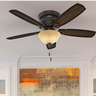 Hunter Fan Ambrose Collection Onyx Bengal 52-inch Low Profile Ceiling Fan With 5 Burnished Aged Maple Reversible Blades