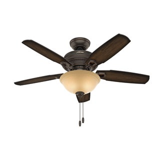 Hunter Fan Ambrose Collection Onyx Bengal 44-inch Ceiling Fan With 5 Burnished Aged Maple Reversible Blades
