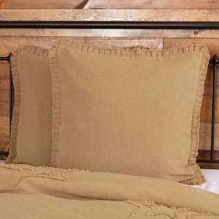 Farmhouse Bedding VHC Burlap Natural Fringed Ruffle Euro Sham Cotton Solid Color Cotton Burlap