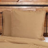 Farmhouse Bedding VHC Burlap Natural Fringed Ruffle Euro Sham Cotton Solid Color Cotton Burlap