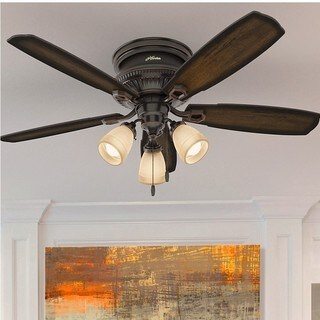 Hunter Fan Ambrose Collection Onyx Bengal 52-inch Celing Fan with 5 Burnished Aged Maple/Aged Maple Reversible Blades - Brown