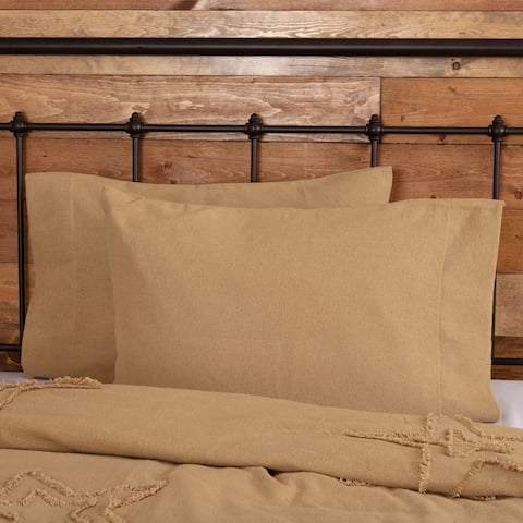 Farmhouse Bedding VHC Burlap Natural Pillow Case Set of 2 Cotton Solid Color Cotton Burlap