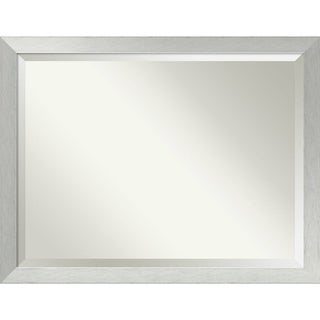 Wall Mirror Oversize Large, Brushed Sterling Silver 44 x 34-inch