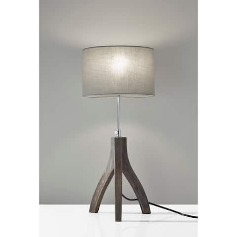 Adesso Sherwood Pinewood with Washed Black Table Lamp
