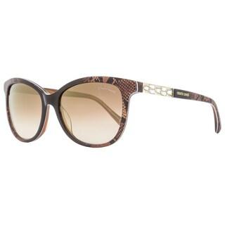 Roberto Cavalli RC904S Merak 50G Women's Brown Snake Effect/Gold/Brown Gradient Flash Lens Sunglasses