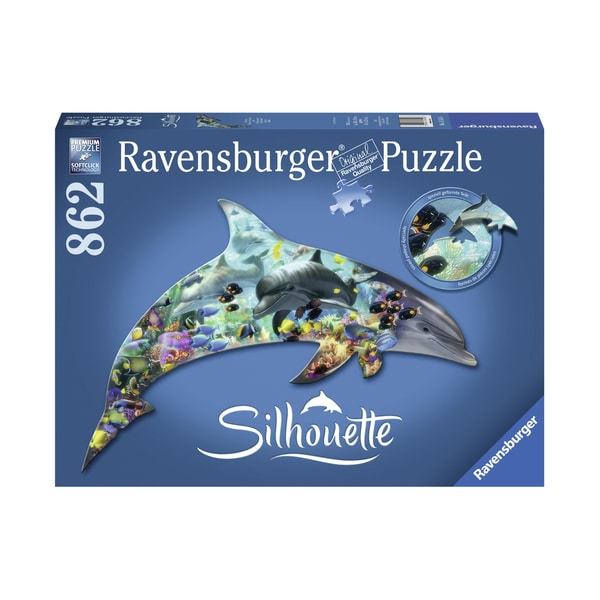 Silhouette Shaped Puzzle - Dolphin World: 862 Pcs