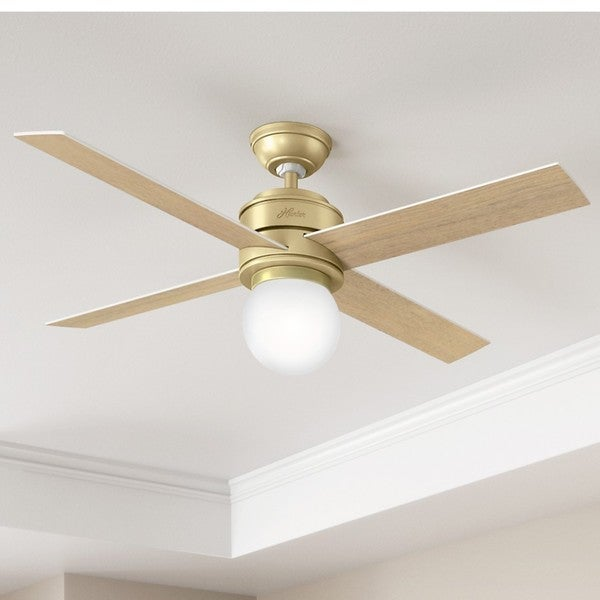 Hunter Fan Hepburn Brass 52 Inch Ceiling With 4 White Grain Aged Oak