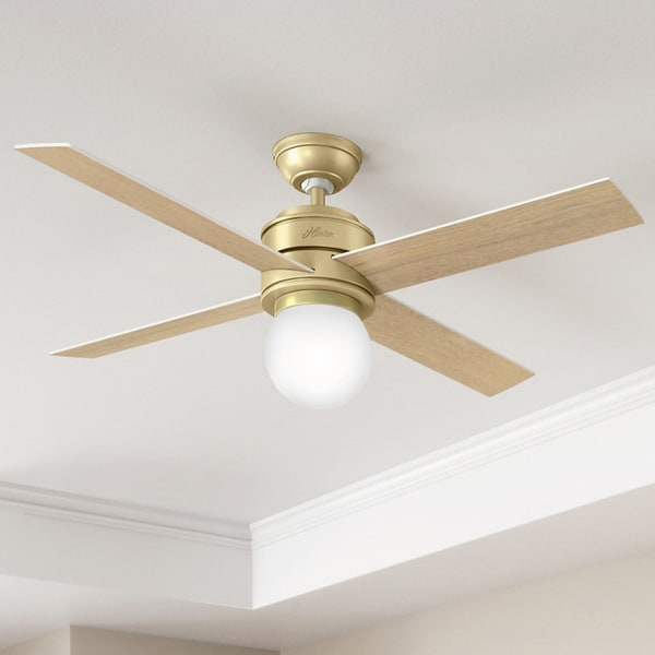 841068c5115fa Shop Hunter Fan Hepburn Brass 52-inch Ceiling Fan with 4 White Grain ...