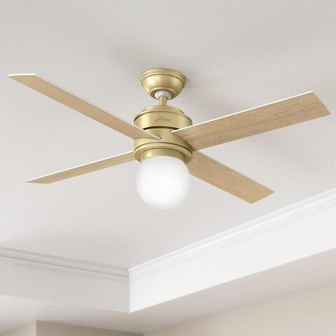Hunter Fan Hepburn Brass 52-inch Ceiling Fan with 4 White Grain/Aged Oak Reversible Blades - Bronze