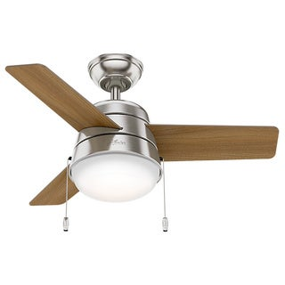 Hunter Fan Aker Brushed Nickel with American Walnut/Natural Wood Reversible Blades 36-inch Ceiling Fan - Silver