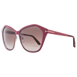 Tom Ford TF391 Lena 69Z Women's Burgundy/Ruthenium/Wine Red Gradient Lens Sunglasses