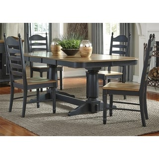 Springfield II Honey and Black Double Pedestal 7 Piece Dinette Set
