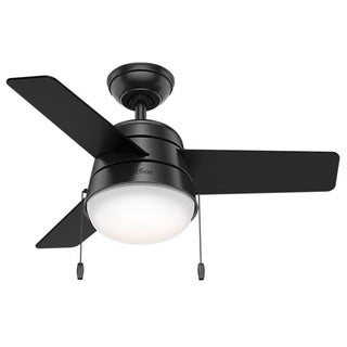 "Hunter 36"" Aker Ceiling Fan with LED Light Kit and Pull Chain - Matte Black"
