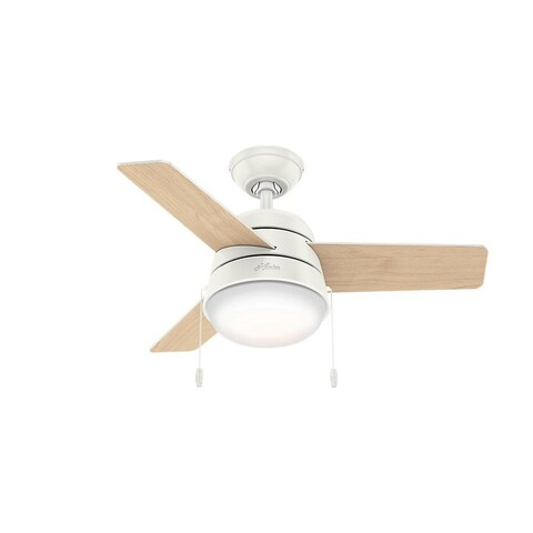 Hunter Fan Aker Fresh White 36-inch Ceiling Fan with 3 Fresh White/ Natural Wood Reversible Blades