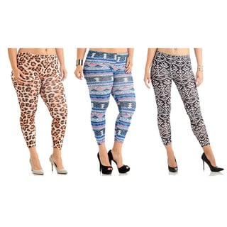 Soft & Stretchy Printed Plus-Size Leggings (Pack of 3)