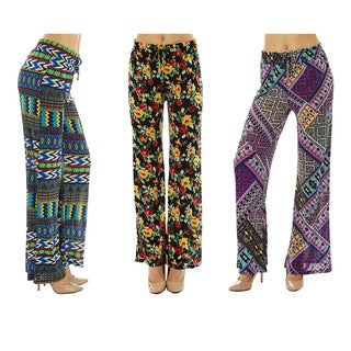 Women Printed Drawstring Waist Palazzo Pants (Pack of 3)