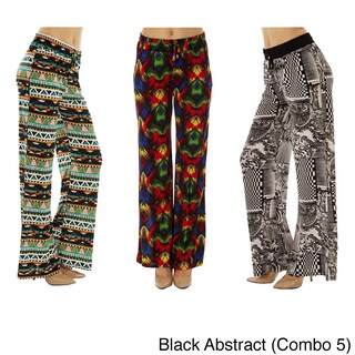 Women Printed Drawstring Waist Palazzo Pants (Pack of 3) (More options available)