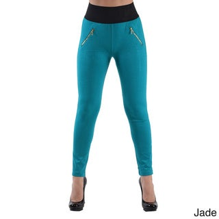 High Waisted Elastic 2-Zipper Pocket Legging Pants