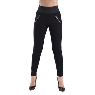 High Waisted Elastic 2-Zipper Pocket Legging Pants|https://ak1.ostkcdn.com/images/products/15615361/P22048948.jpg?impolicy=medium