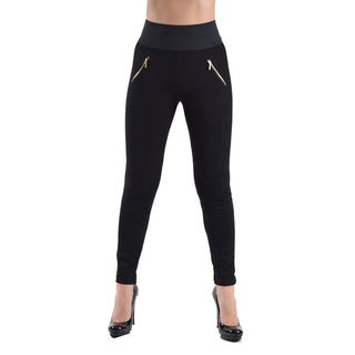 High Waisted Elastic 2-Zipper Pocket Legging Pants