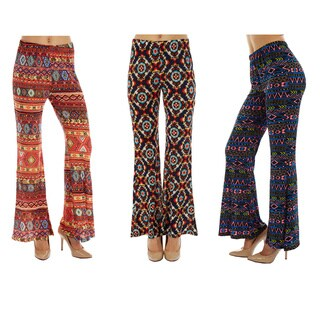 Boho Printed Soft Bell Bottom Pants (Pack of 3)