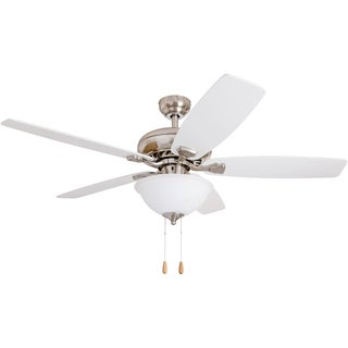 EcoSure 52-inch Narvi Brushed Nickel Fan with White/ Maple Reversible Blades Ceiling Fan and Bowl Light - White