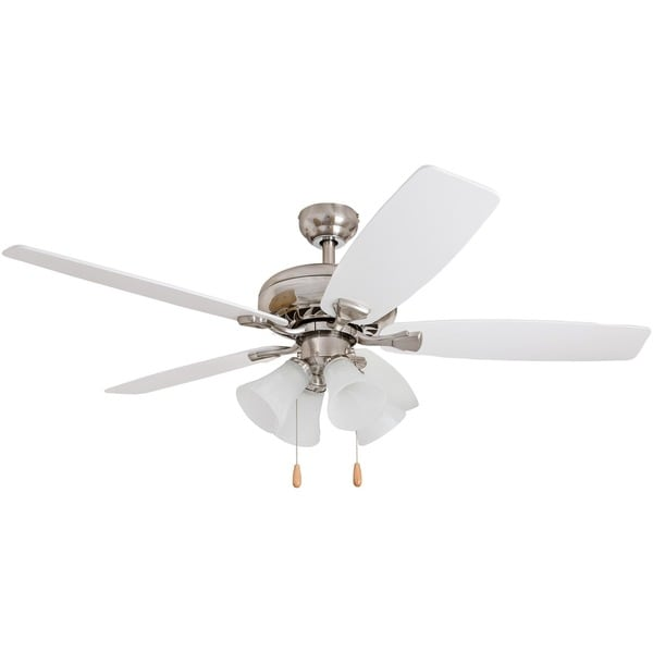 Shop Ecosure 52 Inch Narvi Brushed Nickel Fan With White