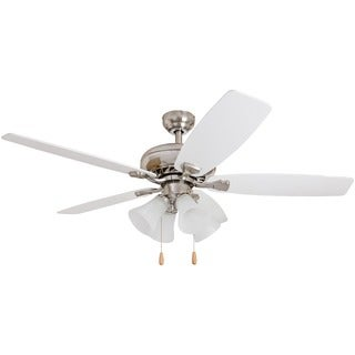 EcoSure 52-inch Narvi Brushed Nickel Fan with White/ Maple Reversible Blades Ceiling Fan and Four Light Kit - White