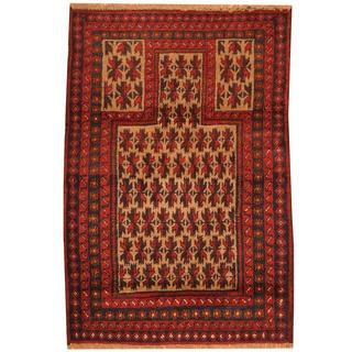 Herat Oriental Afghan Hand-knotted Tribal Balouchi Wool Rug (3' x 4'4)