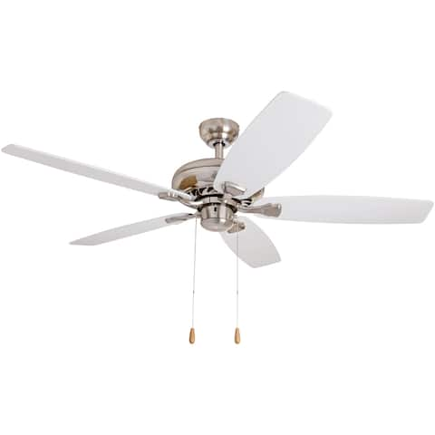 EcoSure 52-inch Narvi Brushed Nickel Fan with White/ Maple Reversible Blades Ceiling Fan