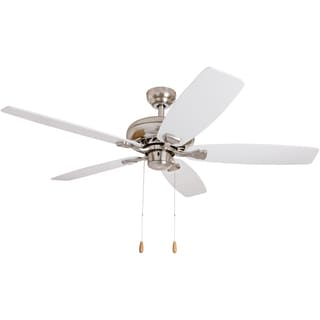 EcoSure 52-inch Narvi Brushed Nickel Fan with White/ Maple Reversible Blades Ceiling Fan - White