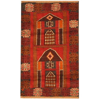 Herat Oriental Afghan Hand-knotted Tribal Balouchi Wool Rug (3' x 4'10)
