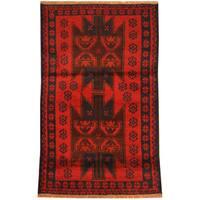 Handmade Herat Oriental Afghan Tribal Balouchi Wool Rug - 2'9 x 4'5 (Afghanistan)