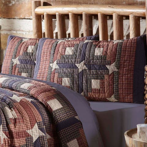 Red Rustic Bedding VHC Parker Sham Cotton Star Patchwork