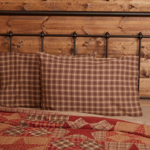 Brown Rustic Bedding VHC Dawson Star Pillow Case Set of 2 Cotton Plaid