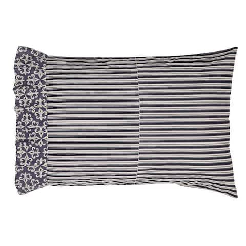 Black Farmhouse Bedding VHC Elysee Pillow Case Set of 2 Cotton Striped