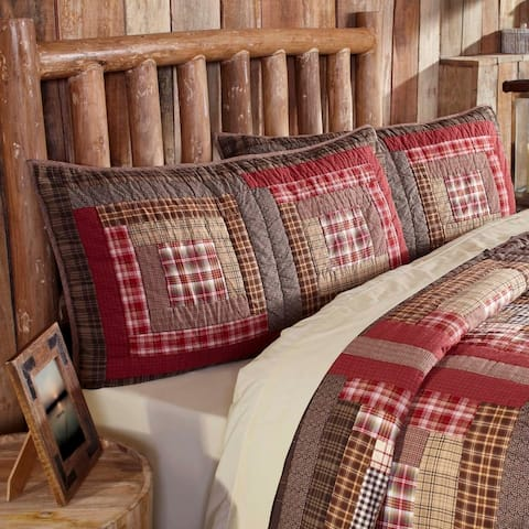 Red Rustic Bedding VHC Tacoma Sham Cotton Patchwork