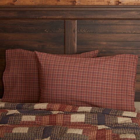 Red Rustic Bedding VHC Parker Pillow Case Set of 2 Cotton Plaid