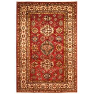 Herat Oriental Afghan Hand-knotted Tribal Super Kazak Wool Rug (5'6 x 8'1)