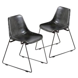 Handmade Water Buffalo Bucket Chair - Charcoal (Set of 2) (India)