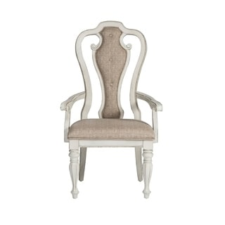 Magnolia Manor Antique White Upholstered Arm Chair