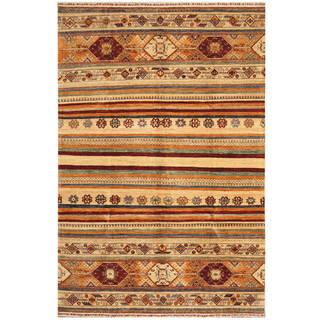 Handmade One-of-a-Kind Super Kazak Wool Rug (Afghanistan) - 5'7 x 8'3
